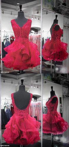 2017 short red homecoming dress, princess party dress dancing dress, sweet 16 dress