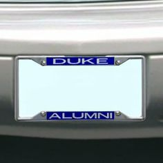 NCAA Duke Blue Devils License Plate Frame Alumni by Stockdale. Save 2 Off!. $17.71. Laser-Cut Mirrored Acrylic Inserts. Made in USA. Hand Inlaid Mirrored Acrylic. Officially Licensed NCAA Product. Chrome Metal License Plate Frame. Chrome Metal License Plate Frame with Inlaid Mirrored Acrylic Inserts