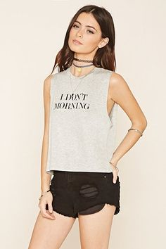 Buy it now. FOREVER21 Women's  Heather Grey & Black I Don't Morning Crop Top. Crop Top,Boxy,I Don't Morning , topcorto, croptops, croptops, croptop, topcrop, topscrops, cropped, bailarina, topbailarina, corto, camisolacorta, topcortoestilobandeau, crop, bralet, strappybralet, bandeautop. Gray,light slate gray,black FOREVER21  crop top  for woman.