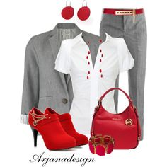 A fashion look from May 2013 featuring short-sleeve button-down shirts, stripe blazer and slim fit dress pants. Browse and shop related looks. Mode Outfits, New Outfits, Casual Outfits, Fashion Outfits, Womens Fashion, Everyday Outfits, Everyday Fashion, Fashion Over 50, Fashion Looks