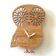 Decoylab - Horloge Chouette en bois