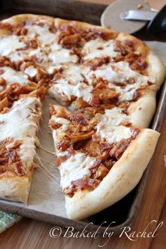 This is a great homemade recipe for bbq chicken bacon pizza. I decided to take an easier route and bought store bought crust, cold cuts chicken lunch meat, and precooked bacon.