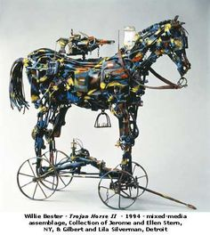 For art's sake. Willie Bester - Trojan Horse II - 1994 - mixed media assemblage.  How clever is this!!!