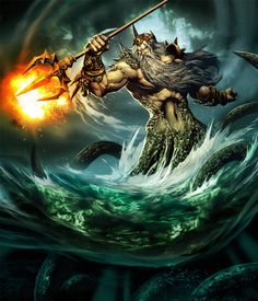 """Poseidon (Also known as Neptune) was the god of the sea and, as """"Earth-Shaker,"""" of earthquakes in Greek mythology. In most accounts he is swallowed by Cronus at birth but later saved, with his other brothers and sisters, by Zeus."""