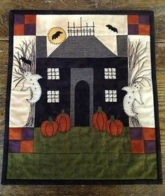 Mini quilt pattern, house with ghosts and pumpkins, at PastThymePatterns