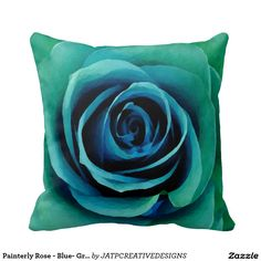 Painterly Rose - Blue- Green - Turquoise Pillows