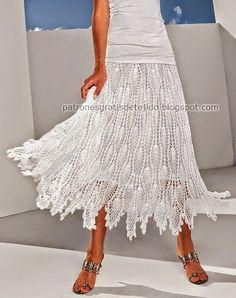 Hermosa falda tejida al crochet - con patrones | Crochet y dos agujas