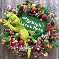 Christmas Wreath Grinch Wreath Christmas Mesh by BaBamWreaths