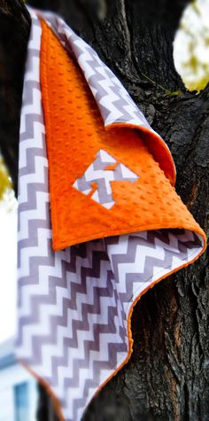 Personalized Orange & Gray Chevron Stroller by TheWildRaccoon, $40.00