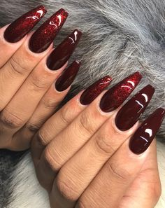 Stiletto Nails – Images – Hair, Nails, Skin – Tips, Tricks and Hacks Red Stiletto Nails, Red Acrylic Nails, Coffin Nails, Gorgeous Nails, Pretty Nails, Wine Nails, Burgundy Nails, Burgundy Wine, Burgundy Color