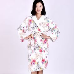 Vintage Floral Crossover Women's Robes Belt Soft Luxury Soft Cotton Bathrobe New #MMY #RobeGownSets