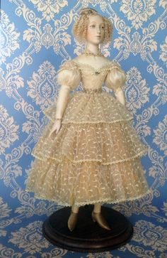 """Honey  Biscuit porcelain. Natural silk atlas, gas fabric, lacy cloth, antiquarian fabric. Artificial hand-worked flowers. Hand embroidery. Natural mohair. Hand painting.  LE 5; 20 """""""