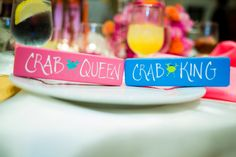 maryland themed creative chairback signs | Kevin + Mary's hot pink and orange, Maryland themed wedding at Milton Ridge | Images: Tori Nefores Photography