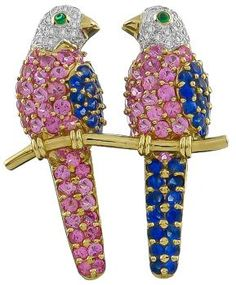 Diamond Love Birds Pin~ round-cut Pink and Blue 4.00ct Sapphires, round-cut 0,50ct Diamonds and 18k Yellow and White Gold - Price: $3,300