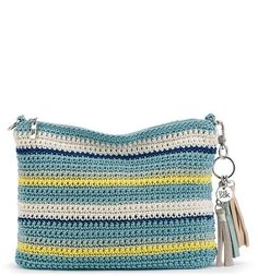 The new Casual Classics 3-in-1 Demi achieves true cool in blue with Pool Stripe. Blue tones are hand-crocheted to form this chic shape which can be worn over the shoulder, as a crossbody or a clutch.