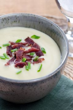 Easy cauliflower celeriac soup with bacon. The celery root makes it so creamy, you won't believe it's gluten-free and paleo — without any flour or starch. | Cook Eat Paleo