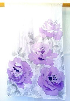 The Pastel Lavender Purple Roses Silk Wrap is intricate and sophisticated with gorgeous lightly colored silver drawings of purple roses. Truly one of a kind accessory piece to dress up your wedding as well as your everyday wardrobe. This silk scarf is delicate, soft and light, a