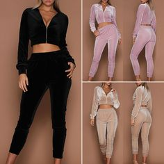 Women Sweatshirt Long Pants Sets Velvet Tracksuit Crop Top Jogging in Clothing, Shoes & Accessories, Women's Clothing, Sweats & Hoodies Sporty Outfits, Cute Outfits, Velvet Tracksuit, Sweatpants Outfit, Long Pants, Women's Pants, Sweat Pants, Jogging, Sport Wear