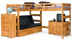 Here's an example of an adjacent L-shape bunk design where the both beds are