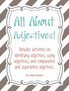 All About Adjectives Activity Pack - aligned to 3rd grade common core standards
