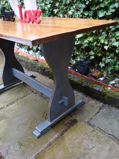 Custom Made Trestle Table In Black Walnut   Alpine Dining Table   Pinterest    Tables, Black And Trestle Table
