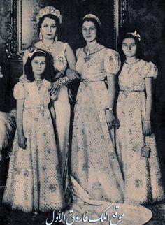 The Egyptian Royal Family from the right : TRH Princess Faika,Princess Faiza ,,HM Queen Nazli,,Princess Fathia
