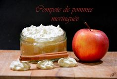 Compote de pommes meringuée Meringue, Dairy, Pudding, Cheese, Apple, Fruit, Food, Biscuits, Apple Cakes