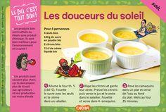 Les douceurs du soleil : une recette facile pour les enfants de 7 à 11 ans avec des œufs bio, du sucre, des citrons, de la crème (extrait du magazine Astrapi n°856)