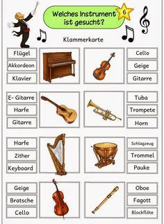 6 Klammerkarten zur Instrumentenkunde für die Freiarbeit ...     Mit diesen Klammerkarten  lassen sich die Instrumentennamen wiederholenu...