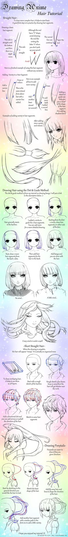 Drawing Anime: Straight Hair and Ponytails by Crysa on DeviantArt: