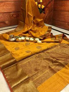 Mustard & Antique Gold Zari Weaving Jute Silk Banarasi Saree