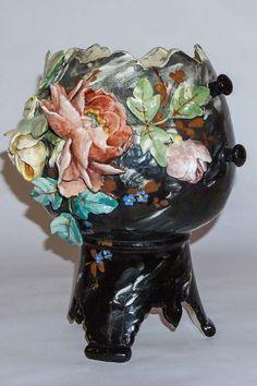 Antique French Barbotine Majolica Vase E Gilles Vintage Ceramic, Ceramic Art, Keramik Vase, Name Art, Antique Art, Clay Art, Pottery Art, French Antiques, Flower Pots