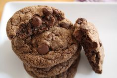Nutella Cookies!  Devine.  Soft chewy insides with pops of chocolate morsels with a crunchy outside.  So good!