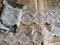 Antique Lace Bobbin Lace over 5ft long Handmade White Lace Rustic Primitive OOAK