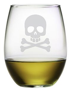 Skull and Crossbones stemless wine glasses. Perfect for Halloween. http://www.skullclothing.net