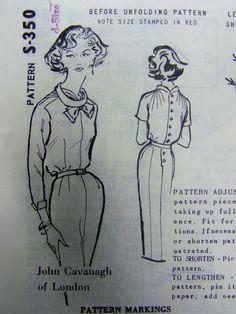 RARE vtg 1960s Spadea's JOHN CAVANAGH of London Dress pattern sz 12 UNused Mail Order by RaggsPatternShop on Etsy