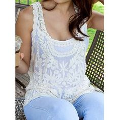 Hollow Out Design Sleeveless Scoop Neck Lace Women's Tank Top