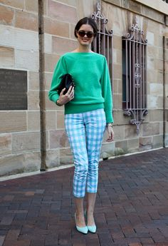 Emerald green jumper+ gingham Bardot pants