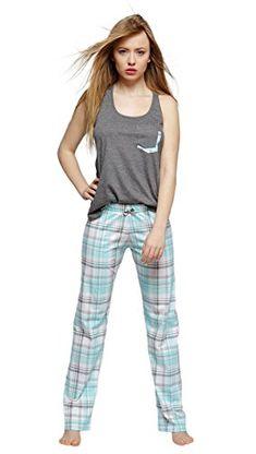 c98b42e35c Sensis stillvoller Baumwoll-Pyjama Schlafanzug Hausanzug aus feinem  T-Schirt und bequemer Hose,