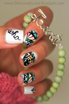 Who? Bracelet and Logo Nail Art by fall in ...naiLove!