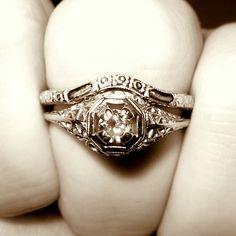 Wedding rings with engraved Heirloom diamond wedding rings