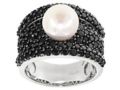 9.5-10mm White Cultured Freshwater Pearl and Black Spinel Rhodium Over