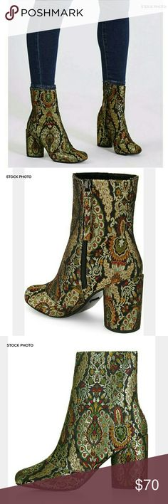 """TOPSHOP Harry Jacquard Bootie (See Sizing) Topshop Harry jacquard brocade booties.  A circular heel and intricate jacquard woven construction distinguish an eye-catching bootie that will take you from day to night in style.  Appx 3 1/2"""" heel, 6"""" shaft.  Side zip closure.  EUC.  Size. EU 40, closer to a 9.5 US. Topshop Shoes Ankle Boots & Booties"""