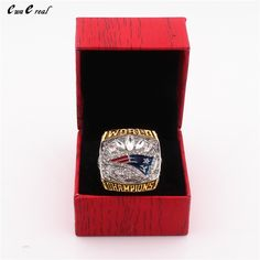 The United States 8 to 15 Patriot Super Bowl 51st World Champion Ring replica and upscale wooden box