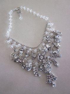 Vintage Rhinestone Necklace Wedding Jewelry by rebecca3030