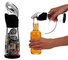 The perfect gift for any beer lover or as a handy home bar accessory, this clever and unique bottle opener doubles as a cap catcher. $9.51