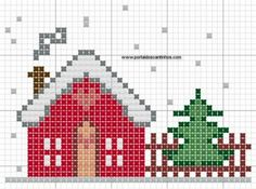 winter house scene cross stitch pattern :)