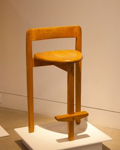 """James Henkle Nesting Stool, 1980 Oak 31"""" x 17"""" x 14"""" On loan from private collection"""