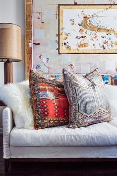 Living Room with CAMILLA large cushions in Wanderess & Byzantine Realms prints