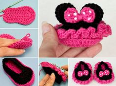 You will love these Mickey Mouse Crochet Booties and we have included the Minnie Mouse Crochet Booties too. They are both free patterns. Crochet Baby Shoes, Crochet Baby Booties, Crochet Slippers, Knit Or Crochet, Crochet For Kids, Crochet Crafts, Crochet Projects, Baby Hut, Crochet Disney